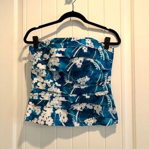 WHBM Blue and White Floral-print Bustier